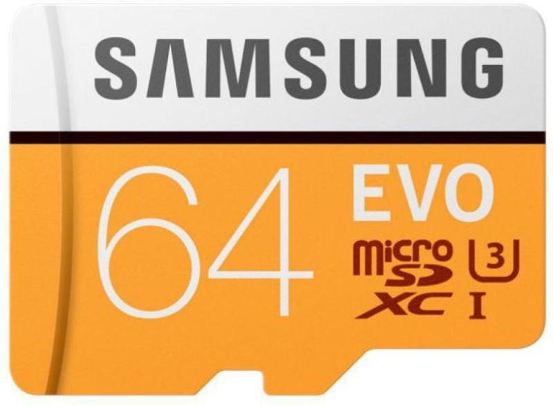 Samsung U3 UHS-1EVO 64 GB SDXC UHS Class 1 100 MB/s Memory Card(With Adapter)