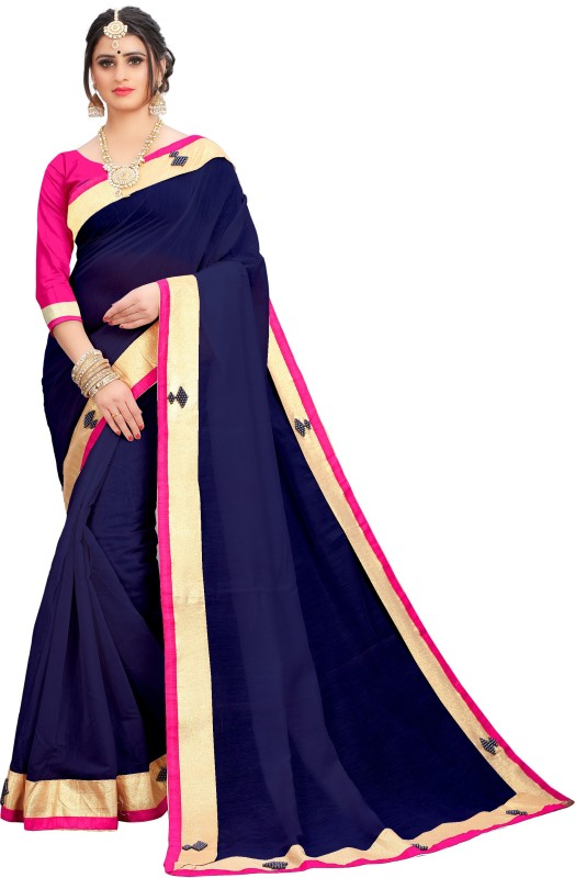 Wama Fashion Solid Rajshahi Cotton Blend Saree(Dark Blue)