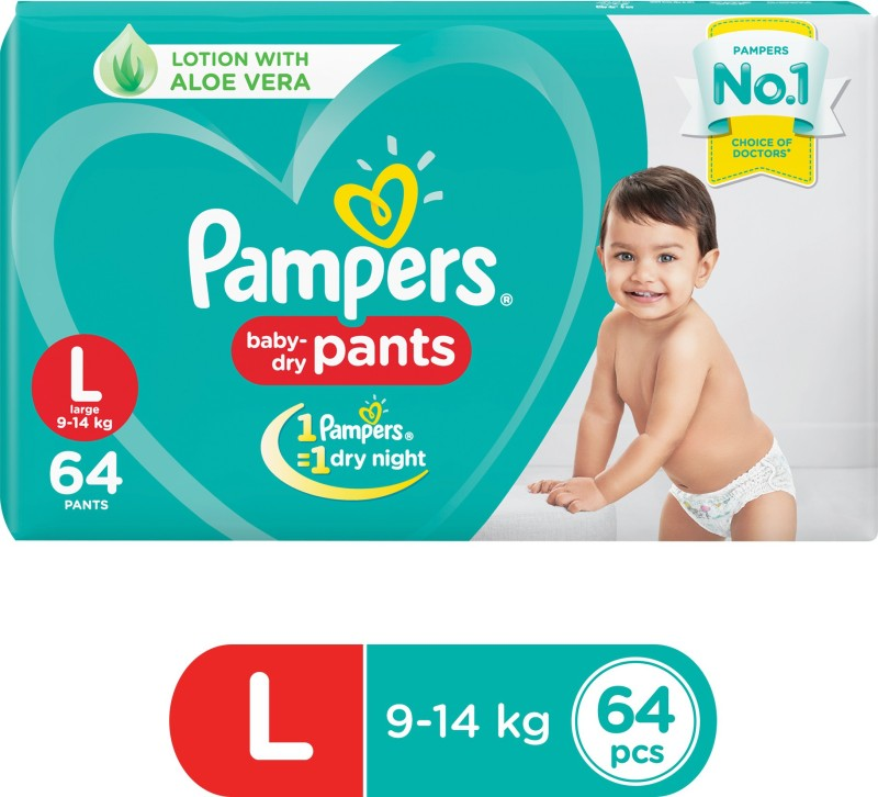 Pampers Baby-Dry Pants Diaper - L(64 Pieces)