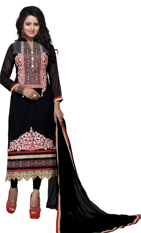 Saumya Designer Poly Georgette Embroidered Salwar Suit Material(Semi Stitched)