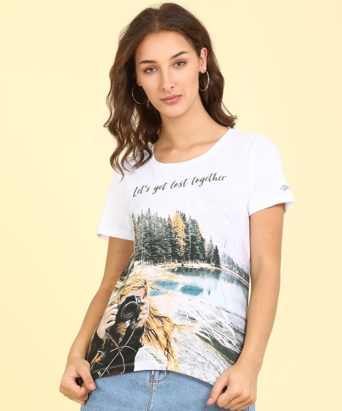 Wrangler Printed Women Round Neck White T-Shirt