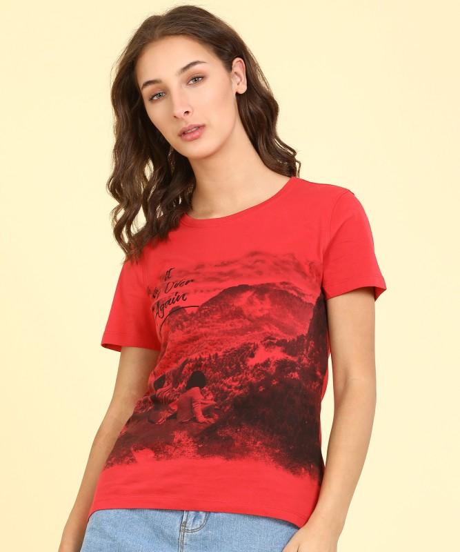 Wrangler Printed Women Round Neck Red T-Shirt