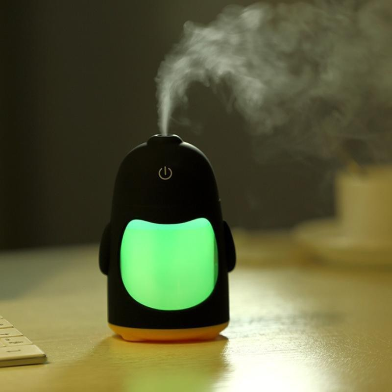 Romino Penguin Shaped Mini Air Freshener Humidifier with LED Night Light for Car Home and Office Portable Room Air Purifier(Multicolor)