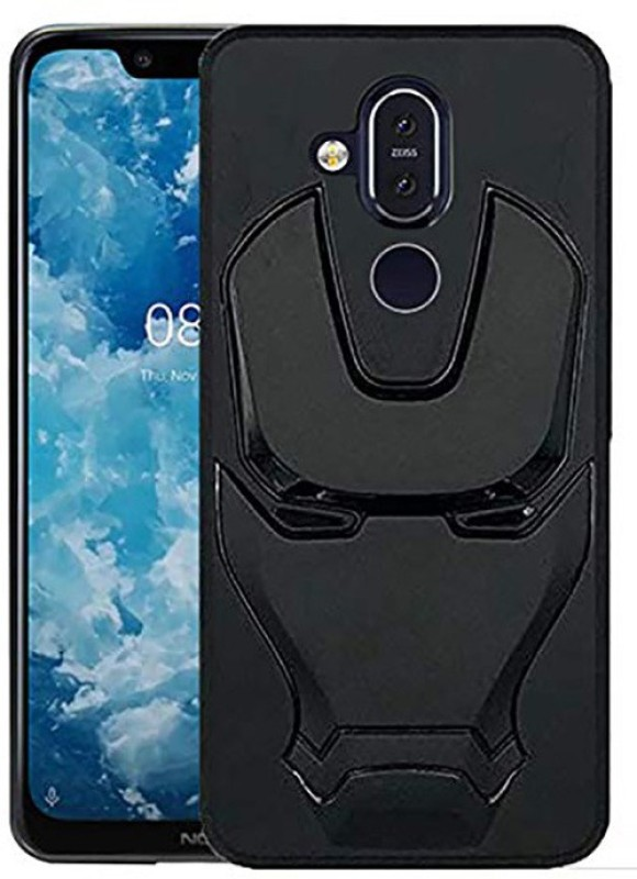 VAKIBO Back Cover for Nokia 8.1(3D Feel Marvel Avenger Iron Man Logo Mask Flexible Rugged Matte Case, 3D Case)