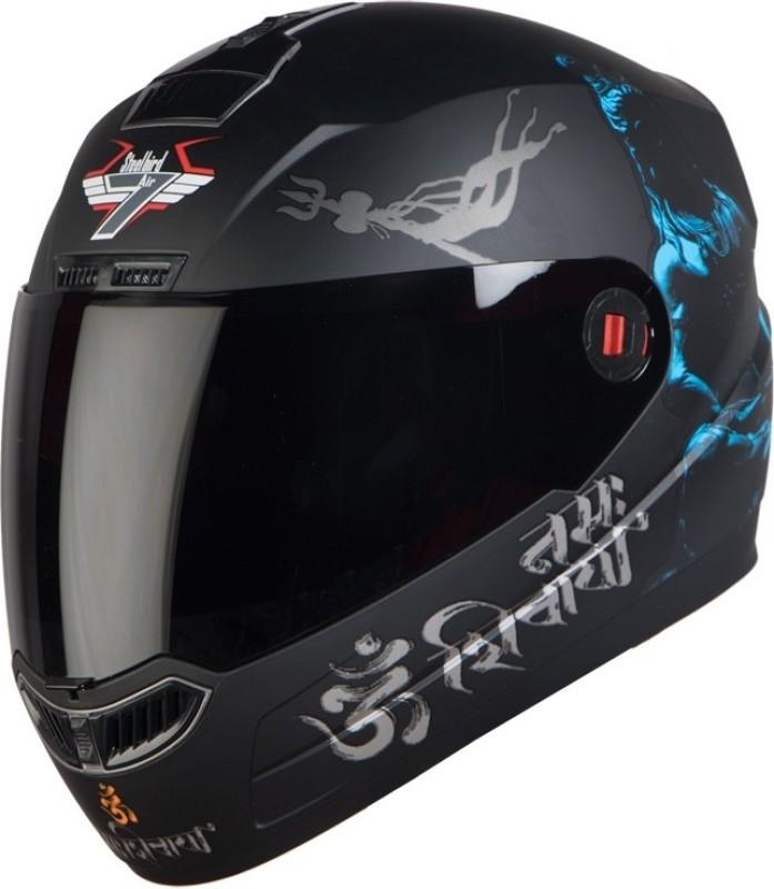 Steelbird SBA-1 Mahdev Matt Motorbike Helmet(Matt Black Blue Smoke Visor)