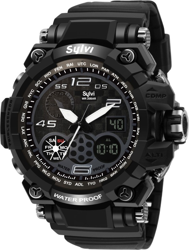 Sylvi YD-1DG-WP Black Analog-Digital Analog- Analog-Digital Watch - For Men