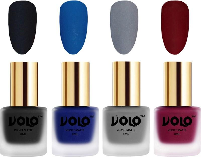 Volo Velvet Dull Matte Posh Shades Party Girl Range Nail Polish Sets Blue, Black, Grey, Carrot Red(Pack of 4)