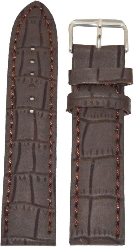 Kolet Croco Matte Finish 24 mm Leather Watch Strap(Brown)