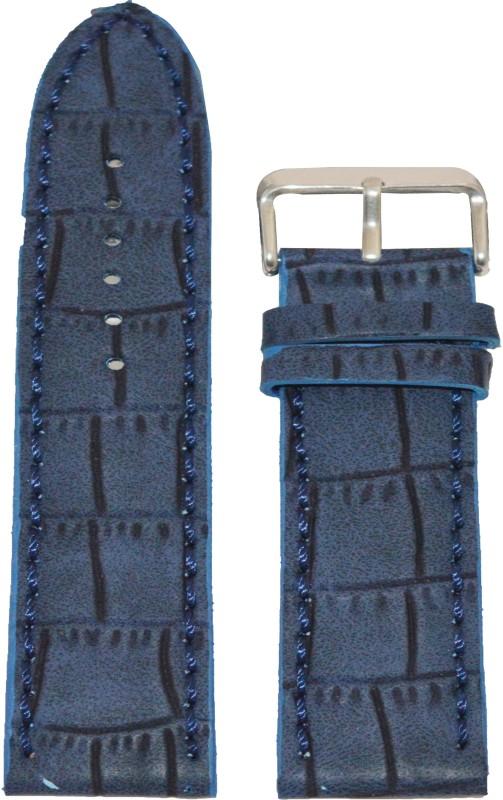 Kolet Croco Matte Finish 18BU 18 mm Leather Watch Strap(Blue)