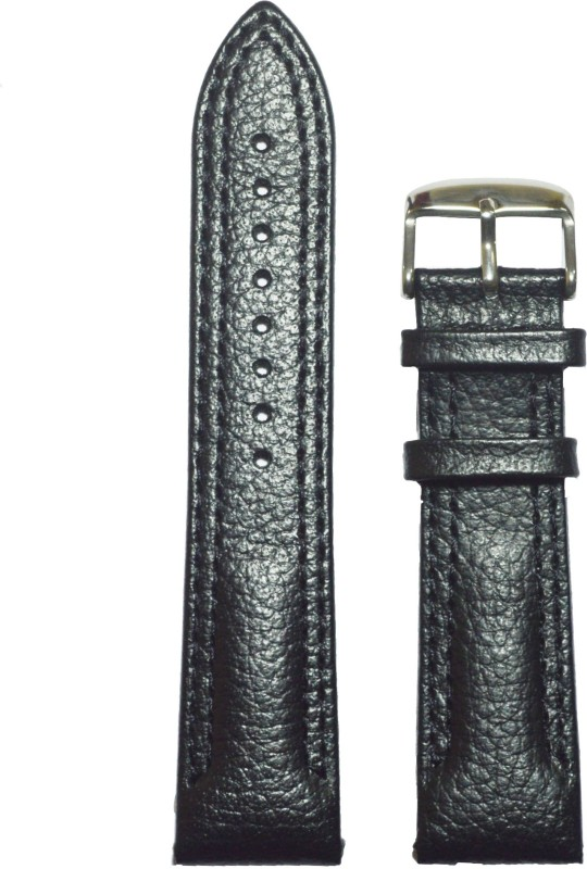 Kolet Dotted Double Stitched 22 mm Leather Watch Strap(Black)