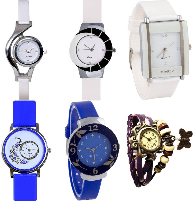 NIKOLA Modish Unique World Cup,Peacock,Flower And Butterfly Analogue White,Blue And Purple Color Girls And Women Watch - G6-G11-G17-G19-G25-G64 (Combo Of 6 ) combo watch Analog Watch  - For Girls