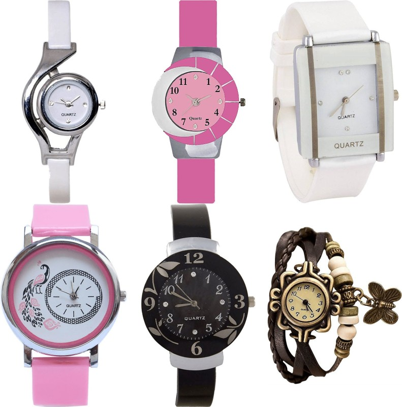NIKOLA Latest Valentine World Cup,Peacock,Flower And Butterfly Analogue White,Pink,Black And Brown Color Girls And Women Watch - G6-G9-G17-G20-G24-G61 (Combo Of 6 ) combo watch Analog Watch  - For Girls