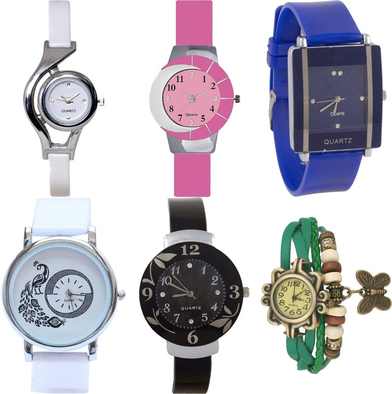 NIKOLA Brand New Style World Cup,Peacock,Flower And Butterfly Analogue White,Pink,Blue,Black And Green Color Girls And Women Watch - G6-G9-G13-G23-G24-G60 (Combo Of 6 ) combo watch Analog Watch  - For Girls