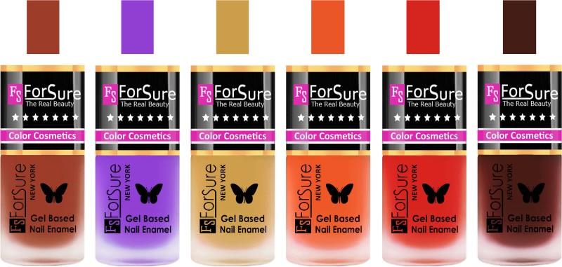 Forsure Nude, Purple, Golden, Orange, Red, Reddish Maroon Velvet Matte Nail Polish (Set of 6 Nail Polish) Nude, Purple, Golden, Orange, Red, Reddish Maroon(Pack of 6)
