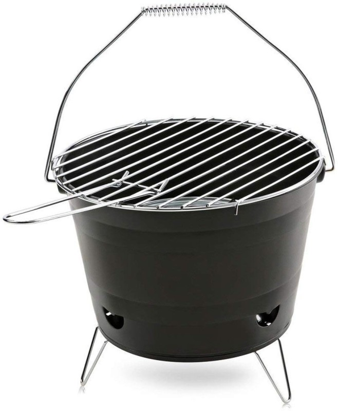ZINZA Portable Camping Bucket Shape Round Charcoal BBQ Grill Stove Meatball Rack Grill(Pack of 1)