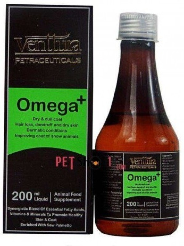 venttura PETRACEUTICALS , Omega + 200 ml , Dry and dull coat hair loss dandruff and dry skin dermatic conditions improving coat of show animals for skin and coat , control hair fall , Pet Health Supplements(200 ml)