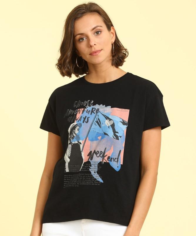 Wrangler Printed Women Round Neck Black T-Shirt
