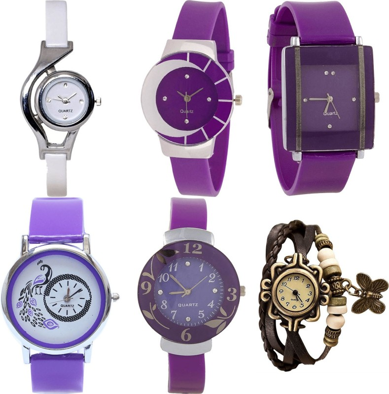 NIKOLA New Style World Cup,Peacock,Flower And Butterfly Analogue White,Purple And Brown Color Girls And Women Watch - G6-G10-G15-G21-G27-G61 (Combo Of 6 ) combo watch Analog Watch  - For Girls