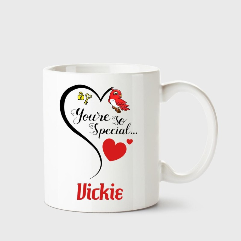 Chanakya You're so special Vickie White Coffee Name Ceramic Ceramic Mug(350 ml)