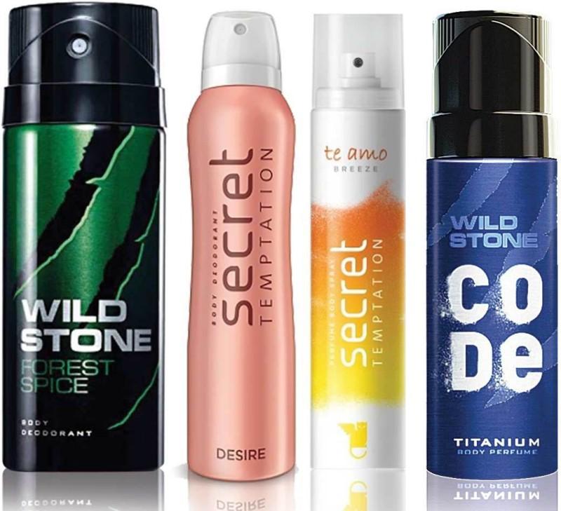 Wild Stone Forest Spice Deodorant (150 ml), Code Titanium Body Perfume(120 ml) and ST Desire Deodorant (150 ml), Te Amo Breeze Body Perfume (120 ml), Pack of 4 Perfume Body Spray - For Men & Women(540 ml, Pack of 4)