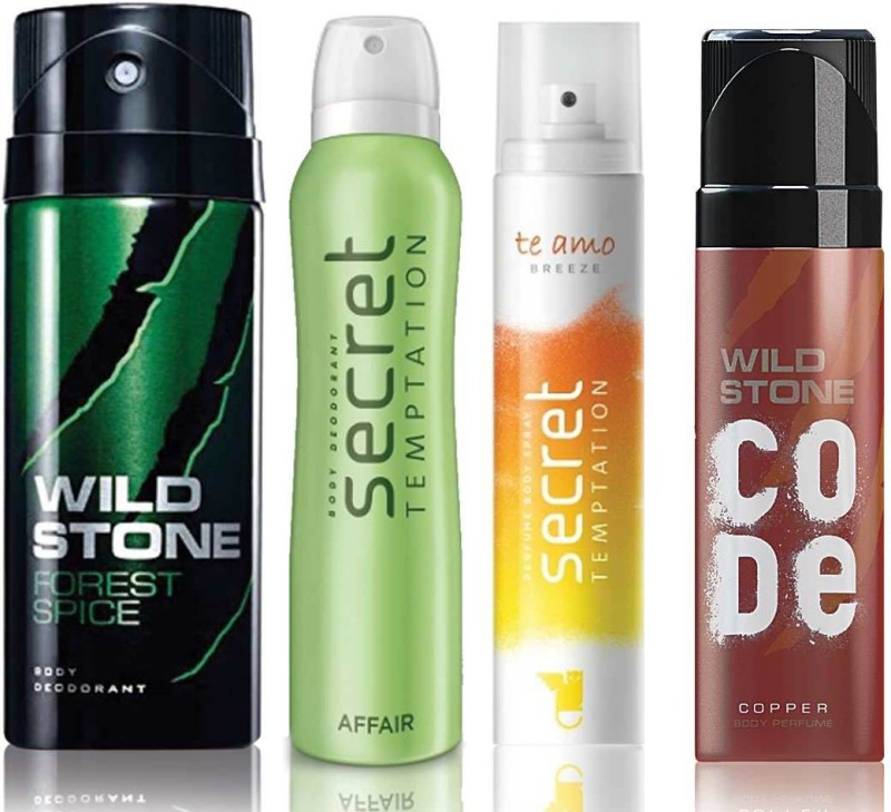 Wild Stone Forest Spice Deodorant (150 ml), Code Copper Perfume(120 ml) and ST Affair Deodorant (150 ml), Te Amo Breeze Body Perfume (120 ml), Pack of 4 Perfume Body Spray - For Men & Women(540 ml, Pack of 4)
