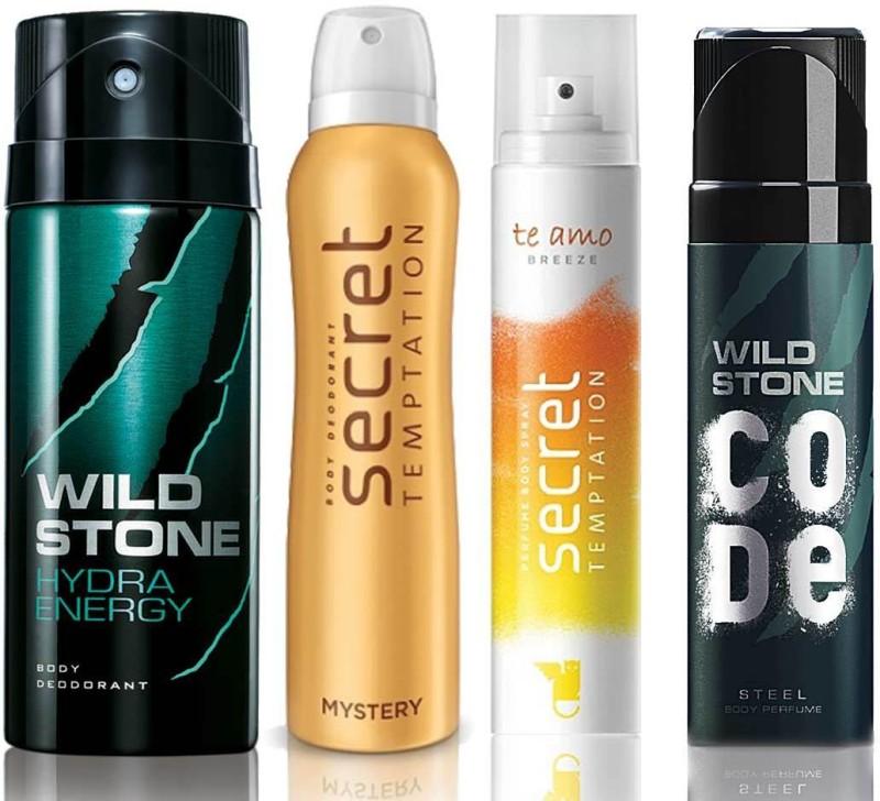 Wild Stone Hydra Energy Deodorant (150 ml), Code Steel Body Perfume(120 ml) and ST Mystery Deodorant (150 ml), Te Amo Breeze Body Perfume (120 ml), Pack of 4 Perfume Body Spray - For Men & Women(540 ml, Pack of 4)