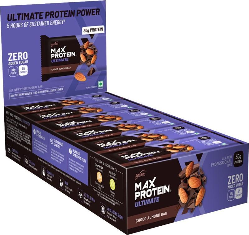 RiteBite Max Protein Ultimate Choco Almond Bars 1200g - Pack of 12 (100g x 12) Protein Bars(1200 g, Choco Almond)