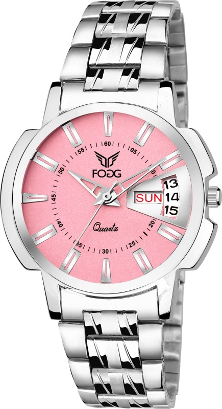 Fogg 4054-PK Pink Day and Date Analog Watch - For Women