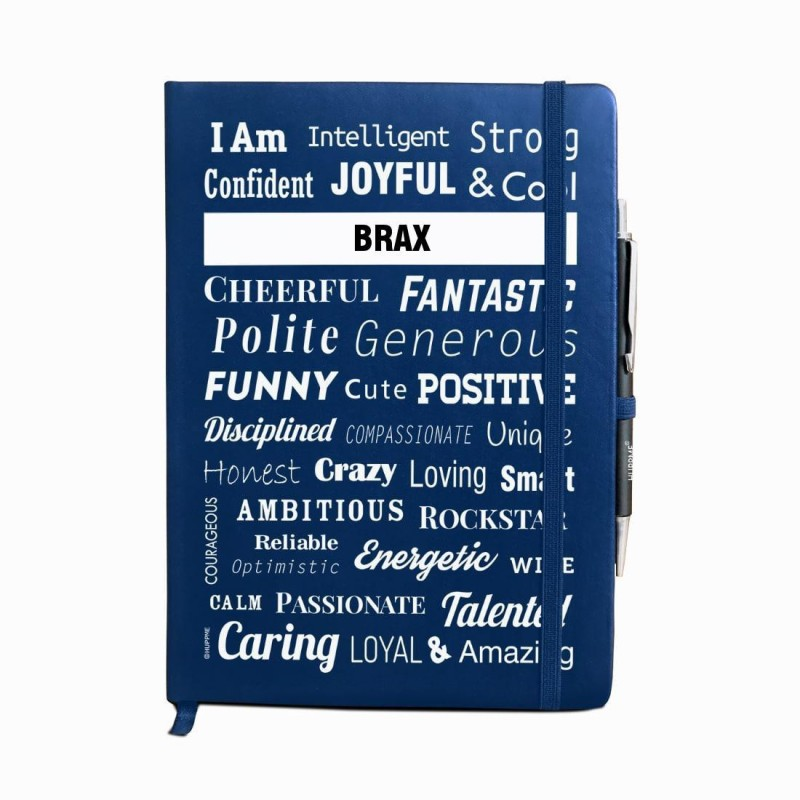 Huppme Personalized name BRAX blue notebook diary with pen - 240 pages, 8 x 6 inches A5 Diary 240 Pages(Blue)