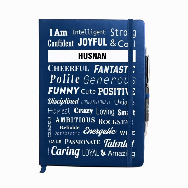Huppme Personalized name HUSNAN blue notebook diary with pen - 240 pages, 8 x 6 inches A5 Diary 240 Pages(Blue)