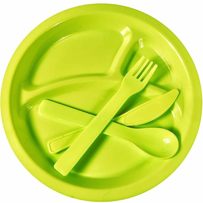 Bridge2Shopping Picnic Travel Plastic Dinner Set - 12 Pieces Plate Warmer(B2S1147-GREEN)