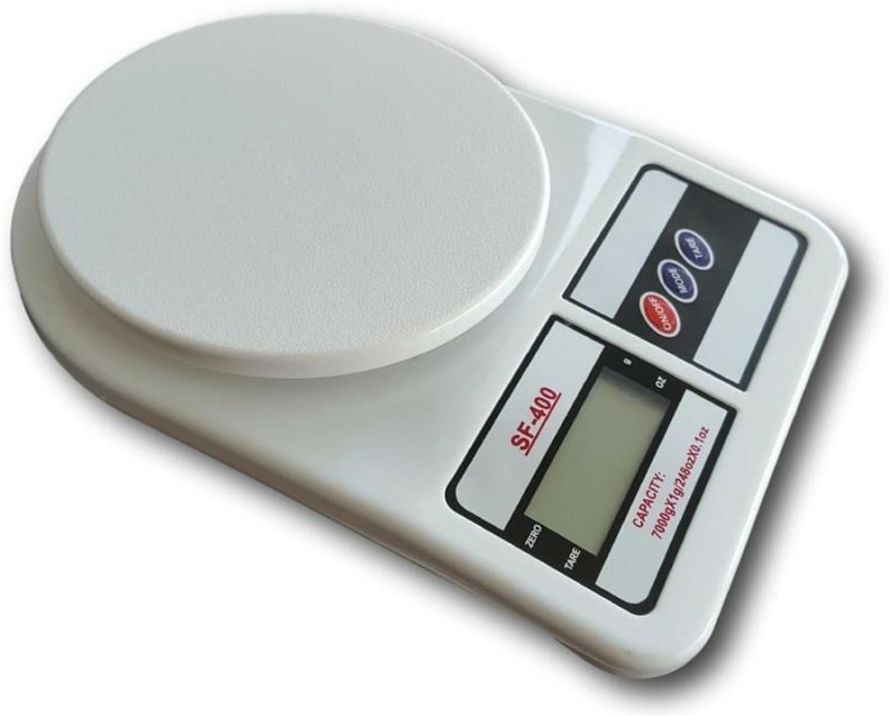 ZIORK Electronic Digital 10 Kg Lcd Kitchen Weight Scale Machine for measuring fruits,Spice,Food,Vegetable And More (Sf-400) Weighing Scale(White)