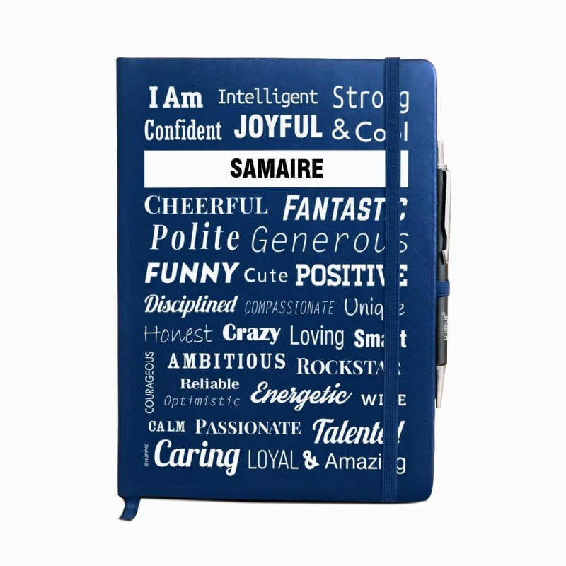 Huppme Personalized name SAMAIRE blue notebook diary with pen - 240 pages, 8 x 6 inches A5 Diary 240 Pages(Blue)