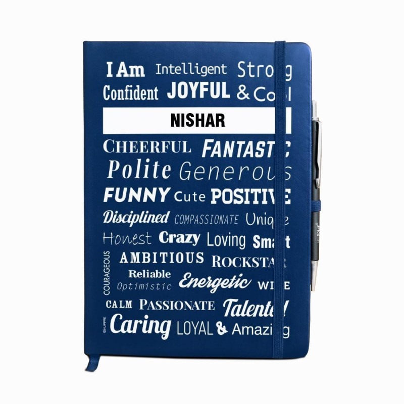 Huppme Personalized name NISHAR blue notebook diary with pen - 240 pages, 8 x 6 inches A5 Diary 240 Pages(Blue)