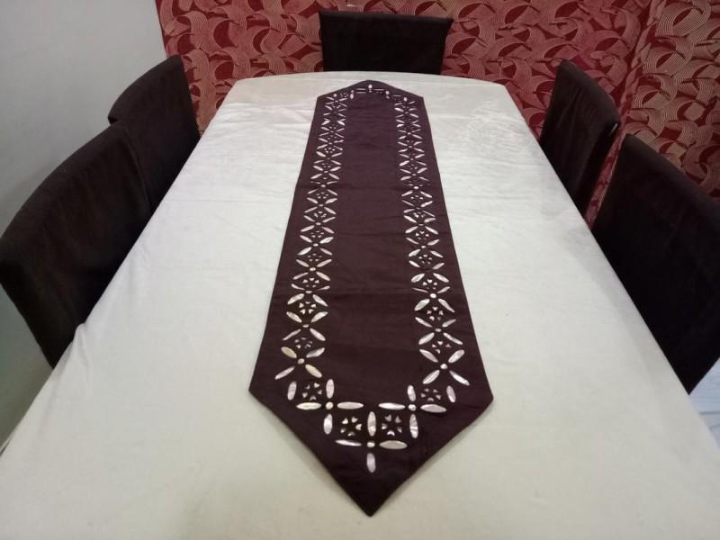 FabLinen Brown 150 cm Table Runner(Velvet)
