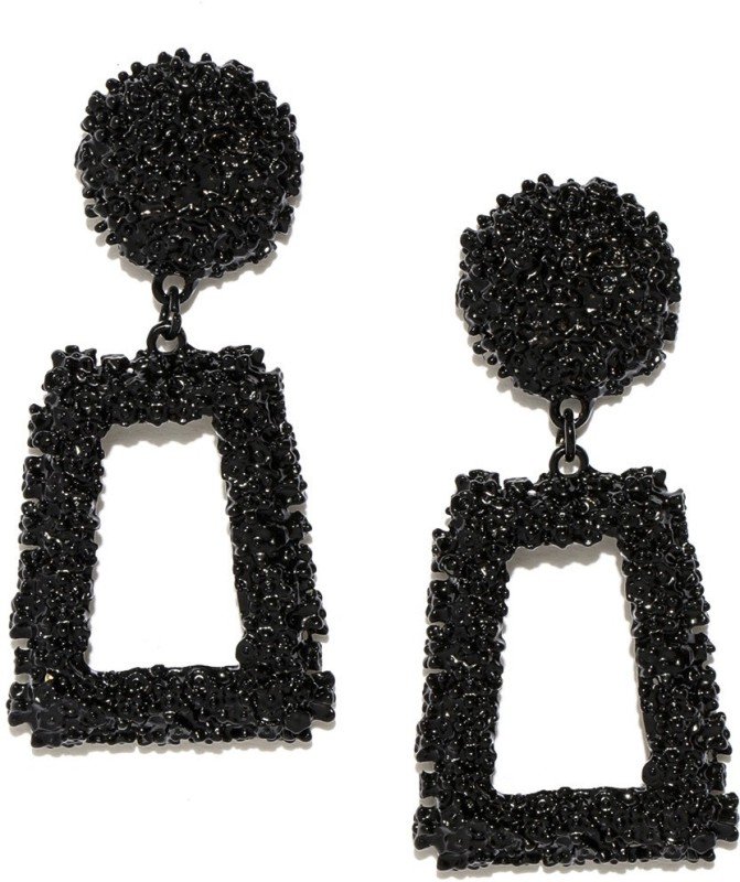 Jewels Galaxy Trendy Black Enamel Copper Drops & Danglers