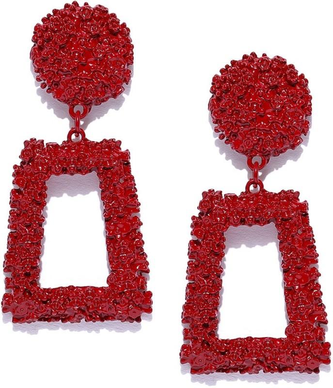Jewels Galaxy Trendy Red Enamel Copper Drops & Danglers