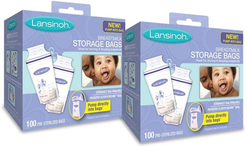 Lansinoh Breastmilk Storage Bags, 2 Packs of 100 Count (200 Count) Convenient Milk Storage Bags for Breastfeeding(Pack of 2, Clear)