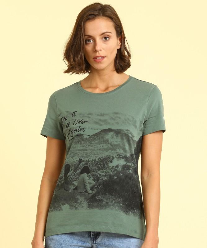 Wrangler Graphic Print Women Round Neck Green, Black T-Shirt