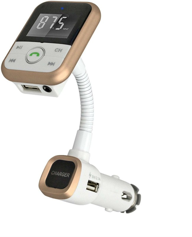 Shrih v4.1 Car Bluetooth Device with FM Transmitter, Audio Receiver, Car Charger, FM Player, USB Cable(Rose Gold)