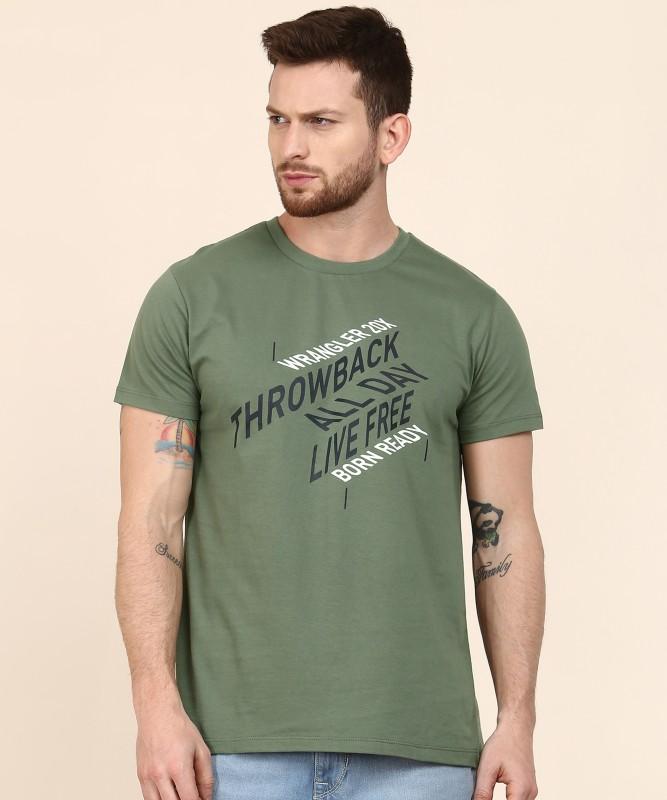 Wrangler 20X Typography Men Round Neck Green T-Shirt