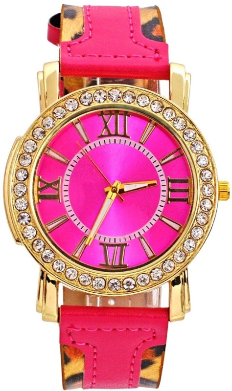 Genevaa Stylish Crystals Studded Classic Pink Leopard Print Strap Designer Analog Watch - For Women