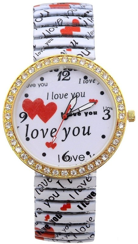 Genevaa Unique Valentine Special Gift I LOVE YOU Stretchable Band Analog Watch - For Women