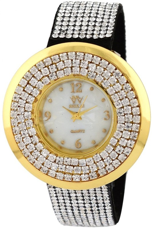 Genevaa Black Unique Bridal Collection Designer Full Diamond Studded Fancy Party Wear Leather Analog Watch - For Women