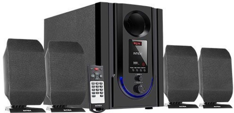 Intex IT-301 FMUB 4.1 Wooden Subwoofer Multimedia Speaker with Bluetooth/USB/FM/AUX(Black) 4.1 Home Cinema(DVD)