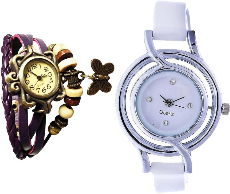 NIKOLA New Exclusive Butterfly Analogue Purple And White Color Girls And Women Watch - G64-G50 (Combo Of 2 ) combo watch Analog Watch  - For Girls