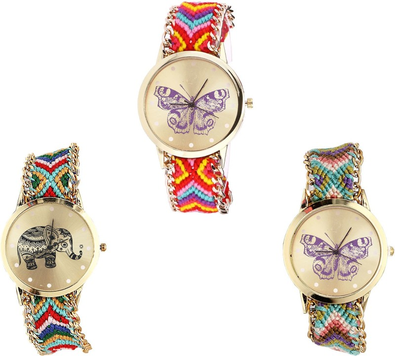 NIKOLA Latest Party Wedding Butterfly And Elephant Analogue Multi Color Color Girls And Women Watch - G131-G156-G133 (Combo Of 3 ) combo watch Analog Watch  - For Girls