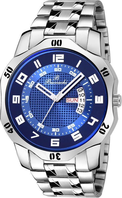 Buccachi B-G5068-BL-CH Blue Dial Day & Date Functioning Water Resistant Stainless Steel Bracelet Watch for Men/Boys Analog Watch - For Men