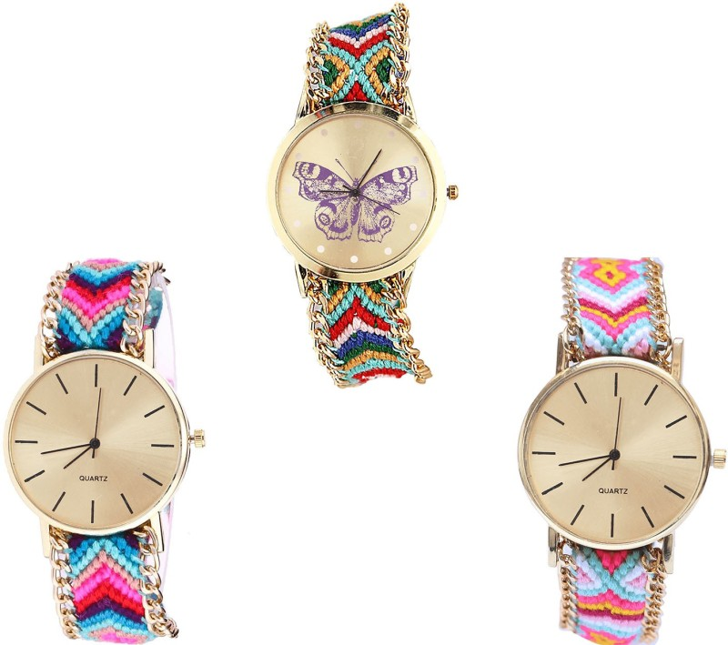 NIKOLA Contemporary Quartz Butterfly Analogue Multi Color Color Girls And Women Watch - G132-G164-G319 (Combo Of 3 ) combo watch Analog Watch  - For Girls