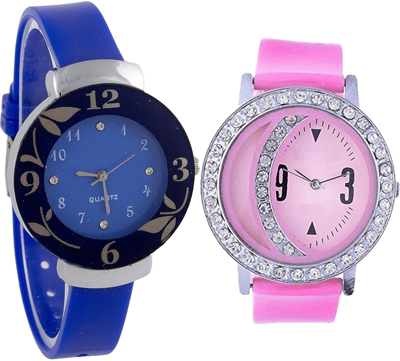 NIKOLA Brand New High Quality Flower Analogue Blue And Pink Color Girls And Women Watch - G25-G73 (Combo Of 2 ) combo watch Analog Watch  - For Girls